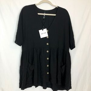 Agnes & Dora NWT Black XS Flowy 3/4 Sleeve Top